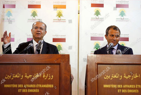 Ioannis Kasoulides, Gibran Bassil Cyprus Foreign Minister Ioannis Kasoulides, left, speaks during a joint press conference with his Lebanese counterpart, Gibran Bassil, at the Lebanese foreign ministry in Beirut, Lebanon