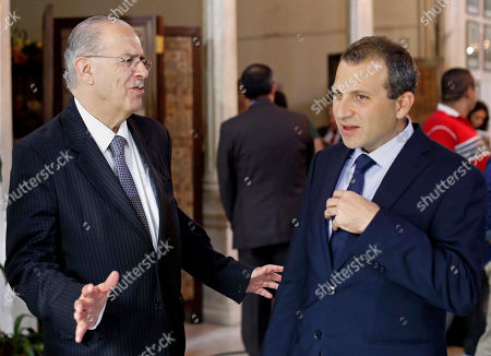 Ioannis Kasoulides, Gibran Bassil Cyprus Foreign Minister Ioannis Kasoulides, left, speaks with his Lebanese counterpart, Gibran Bassil, after their meeting at the Lebanese foreign ministry in Beirut, Lebanon