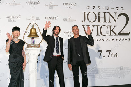 (L to R) Akiko Wada, Keanu Reeves and director Chad Stahelski