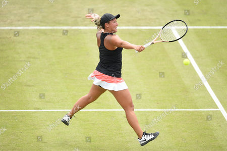 Tara Moore of Great Britain during the Women's first round match of the Aegon Open against Johanna Konta of Great Britain