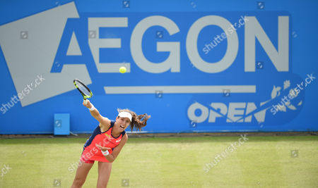Johanna Konta of Great Britain during the Women's first round match of the Aegon Open against Tara Moore of Great Britain