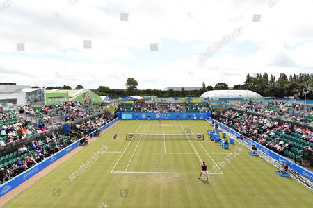 General view of centre court during the match with Johanna Konta of Great Britain and  Tara Moore of Great Britain