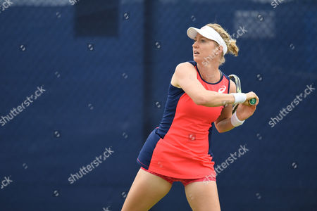 Julia Boserup of the USA during her first round doubles match during the Aegon Open