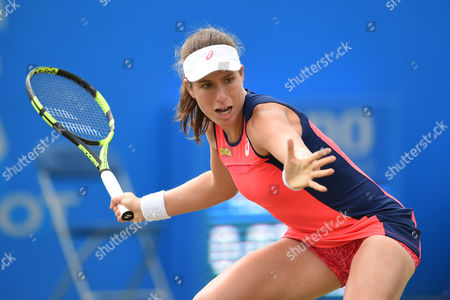 Johanna Konta of Great Britain during the Women's first round match of the Aegon Open with Tara Moore of Great Britain