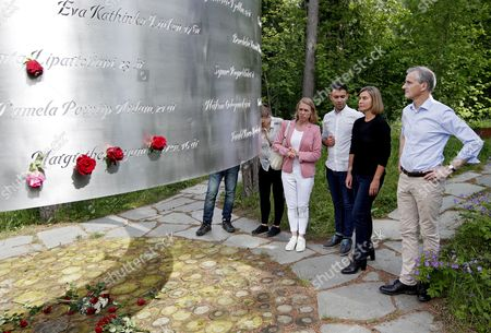(L-R) Norwegian Labour party member Anniken Huitfeldt, Labour party's youth organisation leader Mani Hussain, EU Foreign Police Chief Federica Mogherini, and Labour party leader Jonas Gahrs Store stand at the Utoya Memorial in Norway, 13 June 2017. The Utoya island is where Anders Behring Breivik (a.k.a. Fjotolf Hansen) killed 69 people on 22 July 2011. Mogherini is also attending the Oslo Forum at Losby Gods, outside Oslo.