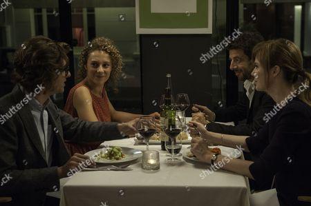 Stock Image of Thomas Soliveres, Alice de Lencquesaing, Patrick Bruel, Isabelle Carre