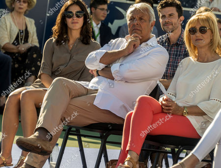 Spanish tennis player Rafael Nadal's fathers Sebastian Nadal (C) and Ana Maria Parera (R) and his girlfriend Maria Francisca Perello (L) attend a graduation ceremony of pupils of the American International School of Mallorca in his tennis academy in Manacor, Balearics Islands, Spain, 13 June 2017.
