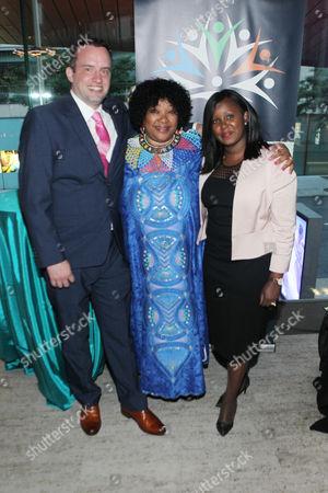 Connor Burgess, South African Ambassador Zindzi Mandela and Lillian Chege