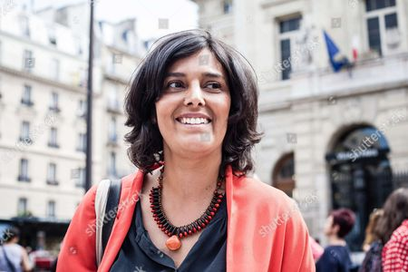 Stock Image of Myriam El Khomri former Labour minister and French socialist Party (PS) candidate for the upcoming legislative elections in the 18th district of Paris, hands out campaign leaflets.
