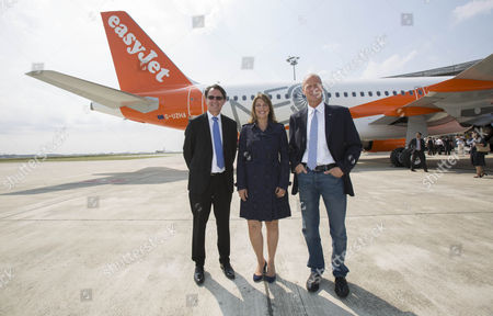 (L-R) Gael Meheust CFM, EasyJet CEO Carolyn McCall  and Tom Ender (chief Exec Airbus Group), EasyJet takes delivery of its first LEAP powered Airbus A320 NEO its 300th plane
