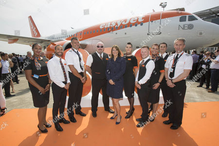 EasyJet CEO Carolyn McCall and crew, EasyJet takes delivery of its first LEAP powered Airbus A320 NEO its 300th plane