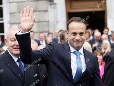 Ireland's new Prime Minister Leo Varadkar waves after being elected Ireland's 14th Taoiseach (Prime Minister) at Leinster House, Dublin, Ireland,. Varadkar defeated rival Simon Coveney in a contest to replace Enda Kenny, who resigned last month