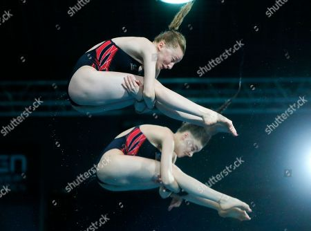 Phoebe Banks, Ruby Bower British Phoebe Banks, left, and Ruby Bower compete on their way to win the gold medal in the women 10m synchro platform final at the European Diving Championship in Kiev, Ukraine