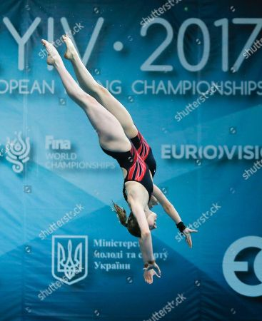 Phoebe Banks, Ruby Bower British Phoebe Banks, front, and Ruby Bower compete on their way to win the gold medal in the women 10m synchro platform final at the European Diving Championship in Kiev, Ukraine