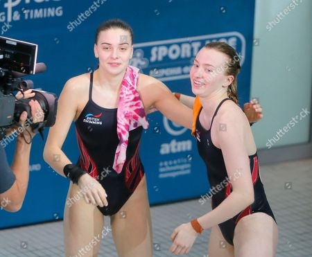 Phoebe Banks, Ruby Bower British Phoebe Banks, right, and Ruby Bower react after winning the gold medal in the women 10m synchro platform final at the European Diving Championship in Kiev, Ukraine