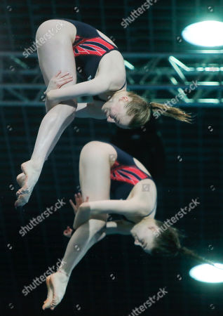 Stock Photo of Phoebe Banks, Ruby Bower British Phoebe Banks, left, and Ruby Bower compete on their way to win the gold medal in the women 10m synchro platform final at the European Diving Championship in Kiev, Ukraine