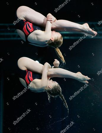 Phoebe Banks, Ruby Bower British Phoebe Banks, top, and Ruby Bower compete on their way to win the gold medal in the women 10m synchro platform final at the European Diving Championship in Kiev, Ukraine