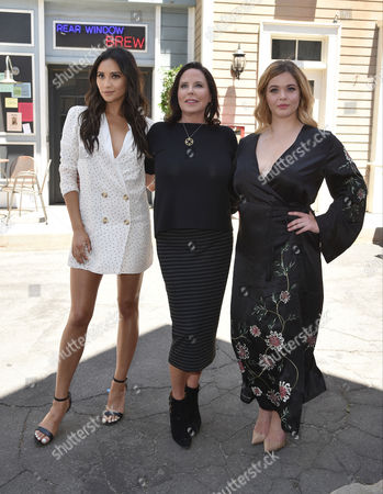 Stock Image of Sasha Pieterse, Marlene King and Shay Mitchell