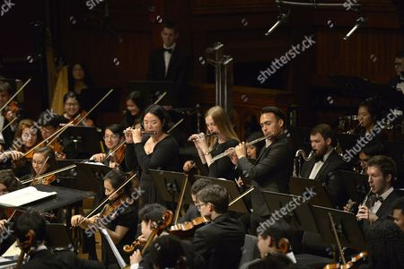 Conductor Benjamin Zander leads the 96 members of the Boston Philharmonic Youth Orchestra in a send-off concert at Sanders Theatre in Cambridge Massachusetts prior to leaving for a two week tour of South America.