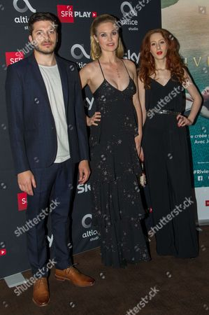British actor Dimitri Leonidas (L),American actress Julia Stiles (C),French actress Roxane Duran (R) attend the ' Riviera ' film photocall at Elysees Biarritz cinema