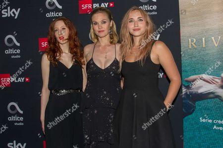 Roxane Duran, Julia Stiles, Chloe Jouannet attend the ' Riviera ' film photocall at Elysees Biarritz cinema