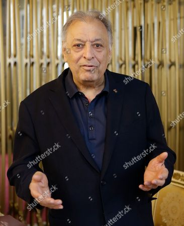 """Conductor Zubin Mehta speaks during a press conference to present Wolfgang Amadeus Mozart's opera """"Die Entfuehrung aus dem Serail"""", at the Teatro alla Scala opera house, in Milan, Italy, . La Scala is presenting the opera by recreating its original scenography from its 1965 showing, which Mehta himself conducted at the Salzburg Festival at the age of 29, from June 17, 2017 until July 1, 2017"""