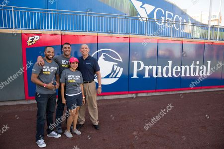 From left, Shelton Kelley, Army Veteran and manager at Prudential, Patricia Perez, executive assistant at Prudential, Scott Anderson, Army Veteran and student in the Workforce Opportunity Services Program, and Charles Sevola, head of Prudential's Office of Veterans Initiatives, stand for a photo before the start of El Paso Chihuahuas AAA baseball game at Southwest University Park on in El Paso, Texas