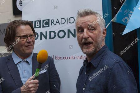 Radio London's presenter Robert Elms and singer songwriter Billy Bragg