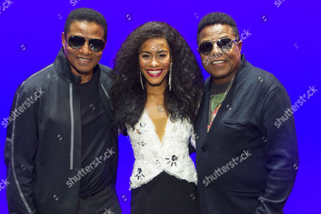 Stock Image of Jackie Jackson, Lucy St Louis (Diana Ross) and Tito Jackson backstage