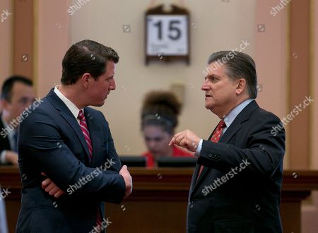 Henry Stern, Robert Hertzberg Democratic state Senators Henry Stern, of Canoga Park, left, and Robert Hertzberg, of Van Nuys confer before the Senate takes up the state budget plan, in Sacramento, Calif. Lawmakers approved the $125 billion general fund spending plan, which was negotiated by Democratic Gov. Jerry Brown and Democratic legislative leaders