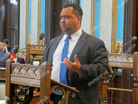 Stock Photo of State Senator Coleman Young II, D-Detroit, speaks in opposition to a Republican-sponsored bill to steer more newly hired school employees into a 401(k)-style retirement benefit, in the Michigan Senate in Lansing, Mich. The Senate narrowly approved the legislation 21-17