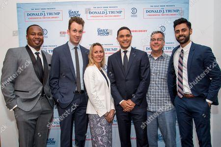 Stock Picture of Roy Wood Jr.., Jordan Klepper, Tanya Giles, Trevor Noah, Kent Alterman and Hasan Minaj