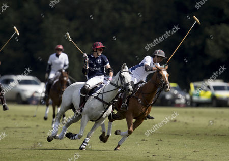 Stock Image of Henry Porter and Maharaja Padmanabh Singh of Jaipur (2nd right) playing during the Maserati Royal Charity Polo Trophy 2017