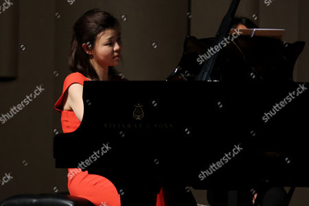 Stock Image of Pianist Sa Chen performs at her solo concert in Shenyang