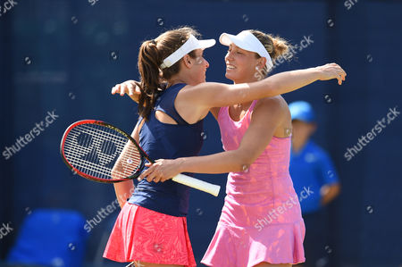 Johanna Konta of Great Britain and Yanina Wickmayer of Belgium  celebrate their win during the Women's doubles Quarter final match with Hao-Ching Chan of Taiwan and Casey Dellacqua of Australia during the Aegon Open