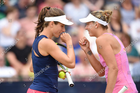 Johanna Konta of Great Britain and Yanina Wickmayer of Belgium during the Women's doubles Quarter final match with Hao-Ching Chan of Taiwan and Casey Dellacqua of Australia during the Aegon Open