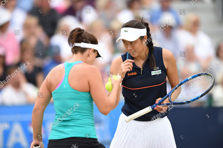 Hao-Ching Chan of Taiwan and Casey Dellacqua of Australia during the Women's doubles Quarter final match with Johanna Konta of Great Britain and Yanina Wickmayer of Belgium during the Aegon Open.