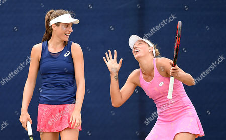 Johanna Konta of Great Britain and Yanina Wickmayer of Belgium  during the Woman's Quarter final match with Hao-Ching Chan of Taiwan and Casey Dellacqua of Australia during the Aegon Open