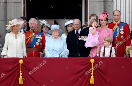 Camilla Duchess of Cornwall, Prince Charles, Queen Elizabeth II, Prince Philip, Catherine Duchess of Cambridge, Princess Charlotte, Prince George and Prince William