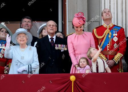 Queen Elizabeth II, Prince Philip, Catherine Duchess of Cambridge, Princess Charlotte, Prince George and Prince William
