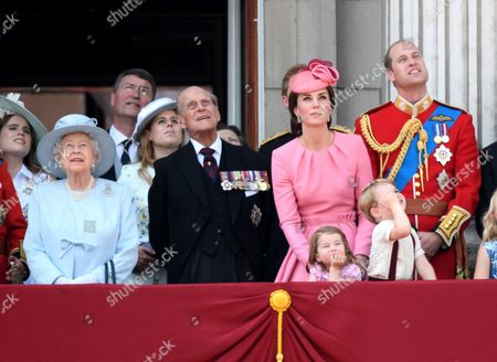 Stock Picture of Queen Elizabeth II, Prince Philip, Catherine Duchess of Cambridge, Princess Charlotte, Prince George and Prince William