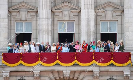 Stock Photo of Prince Edward, Prince Andrew, Camilla Duchess of Cornwall, Prince Charles, Queen Elizabeth II, Prince Philip, Catherine Duchess of Cambridge, Princess Charlotte, Prince George and Prince William