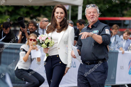 Catherine Duchess of Cambridge, Patron of the 1851 Trusts is welcomed by Keith Mills as she attends the charity's final Land Rover BAR Roadshow