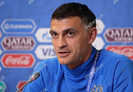 Russia goalkeeper Vladimir Gabulov meets the media during a news conference at the St. Petersburg Stadium, Russia, . Russia will play New Zealand in a Confederations Cup, Group A soccer match scheduled for Saturday, June 17