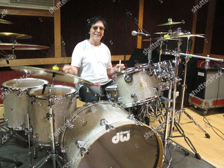 """Stock Image of Drummer and vocalist Peter Criss rehearses in a New York City studio for his final U.S. performance on Saturday. The co-founding member of Kiss best known for the hit single """"Beth"""" says he wants to leave the stage on his own terms after a series of unhappy endings with Kiss, and to say goodbye to his fans"""
