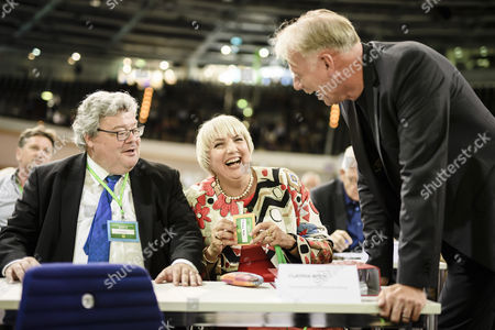 (L-R) The Chairman of the European Green Party, Reinhard Buetikofer, the former Federal Chairwoman Claudia Roth and the former Federal Parliament Group Leader, Juergen Trittin, talk during the Delegate Conference at of the German Alliance 90/The Greens (Buendnis 90/Die Gruenen) Party at the Velodrom in Berlin, Germany, 16 June 2017. The German Alliance 90/The Greens (Buendnis 90/Die Gruenen) Party is having its 41st Federal Delegate Conference from 16 to 18 June 2017 in Berlin.