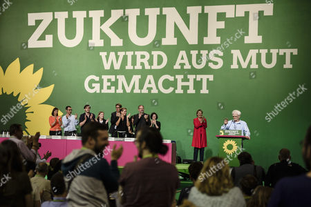 The Federal Chairwoman Simone Peter (L) applauds to the Parliamentarian Hans-Christian Stroebele (R) as he receives standing ovation during the Delegate Conference of the German Alliance 90/The Greens (Buendnis 90/Die Gruenen) Party at the Velodrom in Berlin, Germany, 16 June 2017. The German Alliance 90/The Greens (Buendnis 90/Die Gruenen) Party is having it's 41st Federal Delegate Conference from 16 to 18 June 2017 in Berlin.