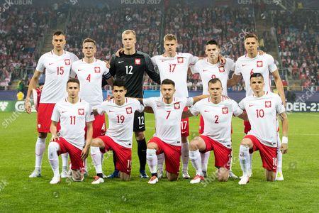 Poland starting XI team photo  Tomasz Kedziora, Jakub Wrabel, Pawel Dawidowicz Radoslaw Murawski, Jan Bednarek, Przemyslaw Frankowski, Bartosz Kapustka, Karol Linetty, Pawel Jaroszynski, Patryk Lipski
