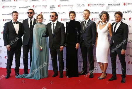(L-R) Actors Angel Bonanni, Ralph Ineson, Cara Theobold, Patrick Heusinger, Stana Katic, Nel Jackson, Maria Feldman and director Oded Ruskin from the TV series 'Absentia' pose on the red carpet while arriving for the opening ceremony of the 57th Monte Carlo Television Festival in Monaco, 16 June 2017. The event will take place from 16 to 20 June.