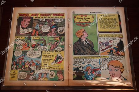 "A May/June 1947 Wonder Woman comic book issue featuring Amelia Earhart is displayed at the Library of Congress' ""Library of Awesome"" exhibit in Washington. ""Wonder Women of History"" also featured other notable women such as Susan B. Anthony, Marie Curie, Harriet Beecher Stowe, and Sojourner Truth"